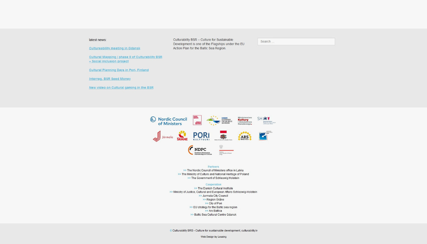 Screenshot Footer mit Partnern