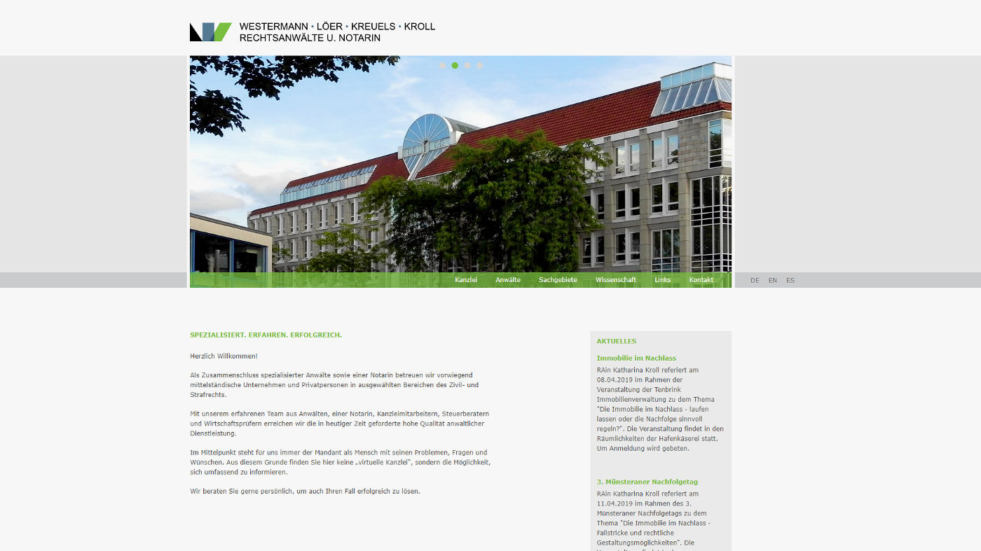 Webdesign für eine Rechtsanwaltskanzlei in Münster, Foto 01