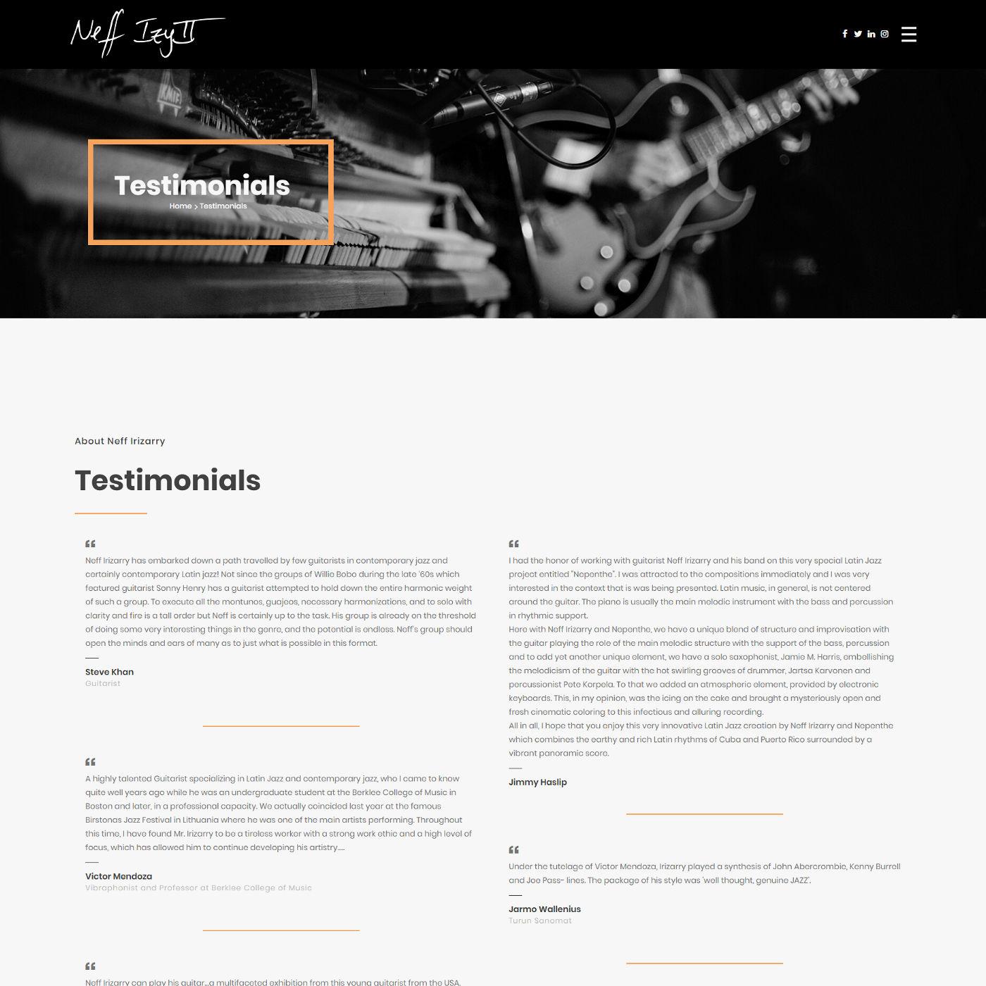 Webdesign für einen Jazz-Musiker, Screenshot