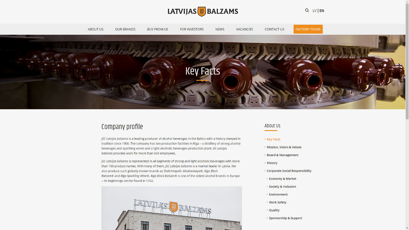 Latvijas Balzams Key Facts