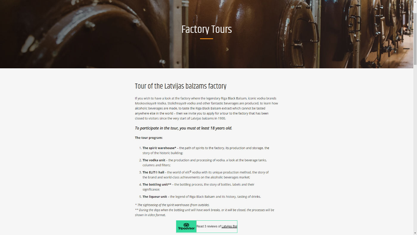 Latvijas Balzams Fabrikbesichtigung